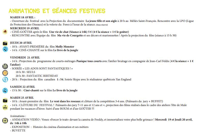 page programme - animations et séances festives TDM